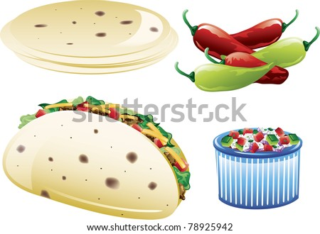 Illustrations of different mexican food icons,including pico de gallo and flour tortillas. - stock vector