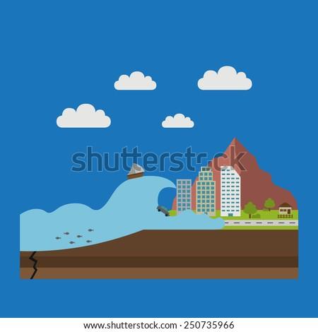 illustrations of natural disasters, tsunami - stock vector