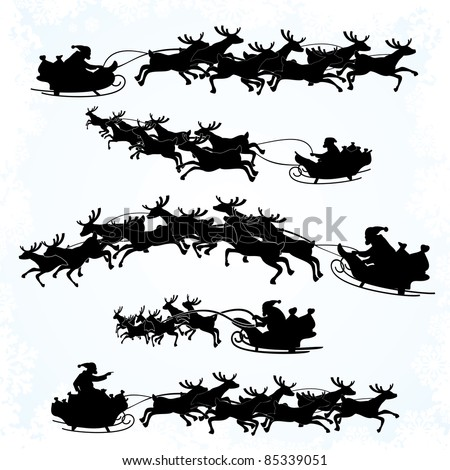 Illustrations of Santa's Sleigh silhouettes isolated on white background - stock vector