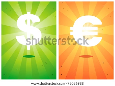 Illustrations of signs the dollar and euro against the bright background - stock vector