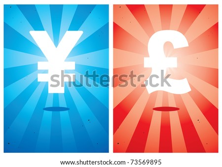 Illustrations of signs the yen and pound against the bright background - stock vector