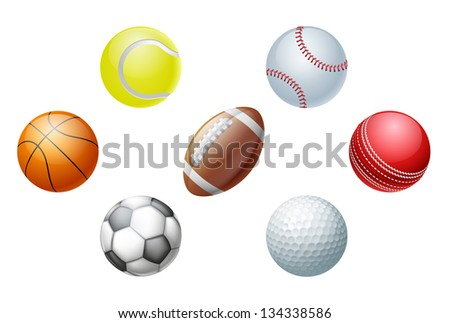 Illustrations of sports ball icons, including cricket ball, football and soccer ball, baseball ball and tennis ball, golf ball and basket ball. - stock vector