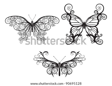 Illustrations of stylised abstract butterflies with patterns and swirls making up wings - stock vector