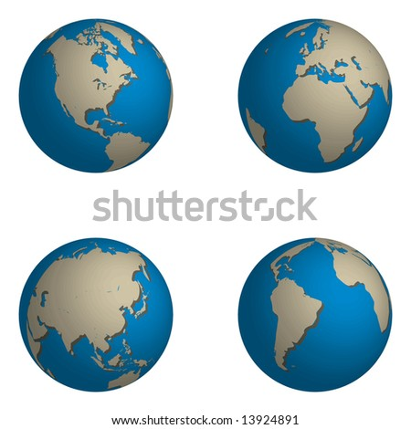 Illustrations of the world, 4 globes showing different parts of the world.