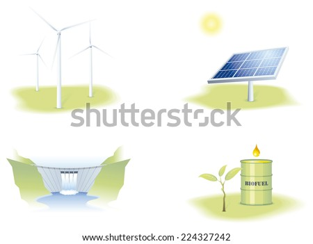 Illustrations representing the main Renewable energies, solar, wind, water and biomass - stock vector