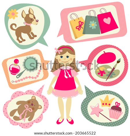 illustrations with little girl. Dreams and hobbies. Different types of activities. - stock vector