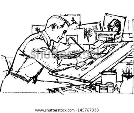 illustrator work retro clip art illustration stock vector 145767338 rh shutterstock com illustrator clip art download illustrator clip art tutorial