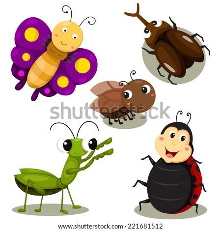 Illustrator of bug cartoon cute - stock vector