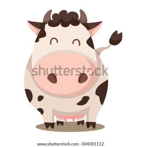 Illustrator of cow cute - stock vector