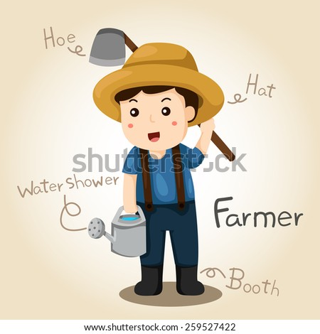Illustrator of Farmer alphabet Profession. Letter F - stock vector