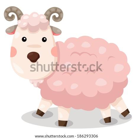 Illustrator of goat cute vector - stock vector