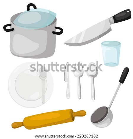 Illustrator of kitchenware with crockery and kitchen