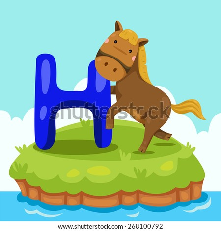 Illustrator of Letter 'H is for horse' - stock vector