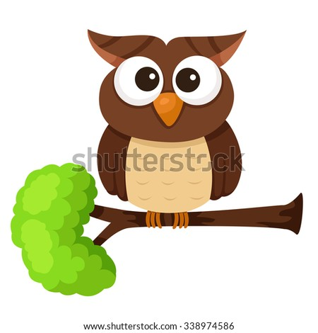 Illustrator of owl cute on tree - stock vector