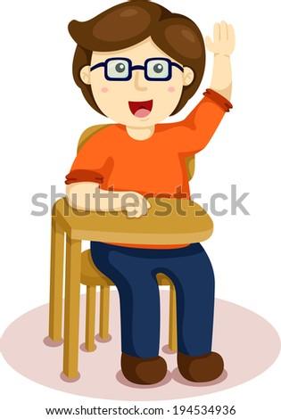 Illustrator of school boy sitting on table - stock vector