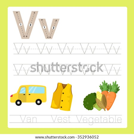 Illustrator of V exercise A-Z cartoon vocabulary - stock vector