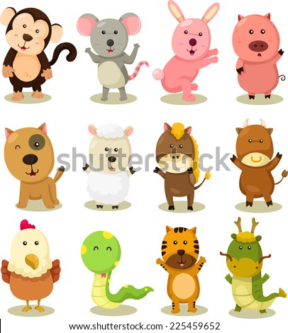 Illustrator of zodiac animal set - stock vector