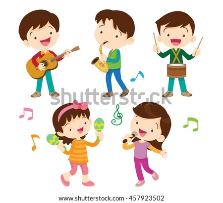 illustrator vector of children groupcartoon dancing kids and kids with musical instrumentscute - Cartoon Image Of Children