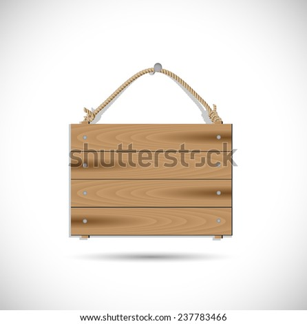 Illustrtation of a hanging wooden sign isolated on a white background. - stock vector