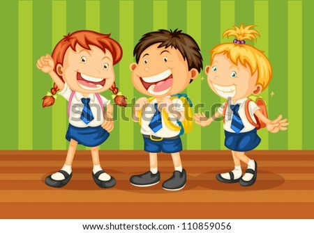 illustrtion of kids in school uniform on green background - stock vector
