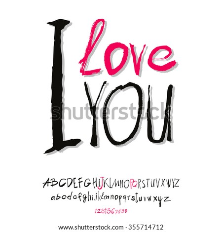 Ilove you hand lettering, handmade calligraphy, vector  - stock vector