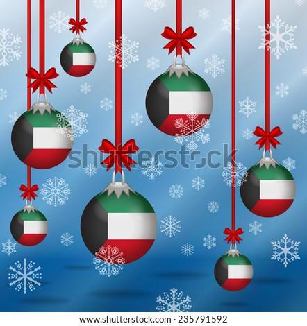 Ilustration Christmas background flags Kuwait  - stock vector