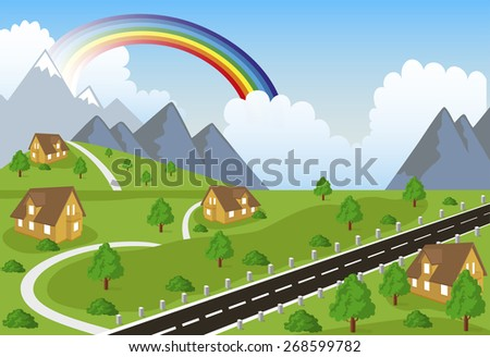 Ilustration of a little town in a calm and tranquil environment in mountain - stock vector