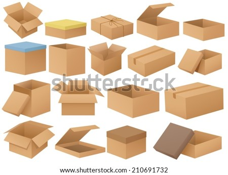 Ilustration of a set of different cardboard boxes - stock vector