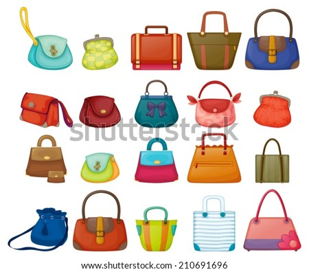 Ilustration of a set of woman purses - stock vector