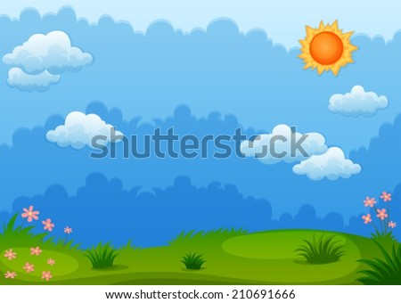 Ilustration of a view of a green field - stock vector