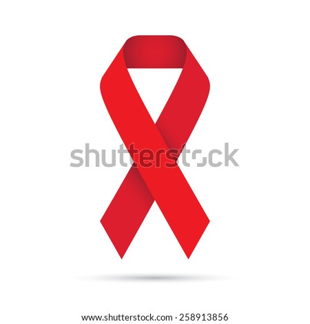 Ilustration of red ribbon ,AIDS HIV icon .Vector eps10 - stock vector