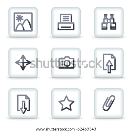Image library icons, white square glossy buttons - stock vector
