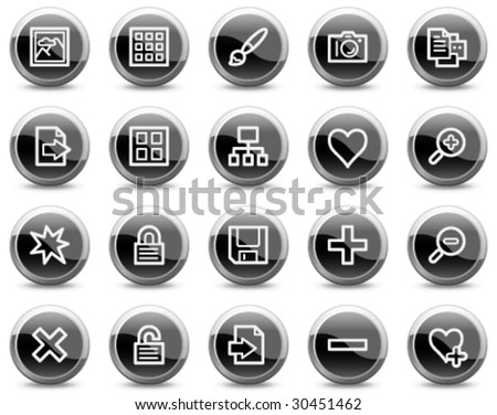 Image library web icons, black glossy circle buttons series - stock vector