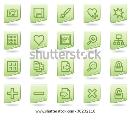 Image library web icons, green document series - stock vector