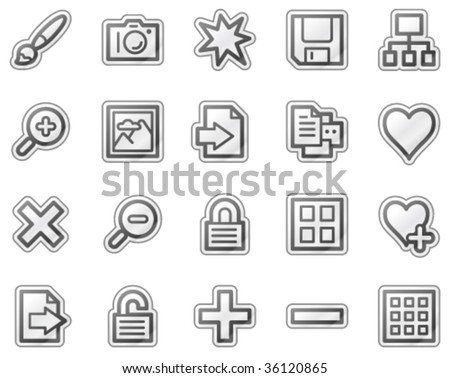 Image library web icons, grey sticker series - stock vector