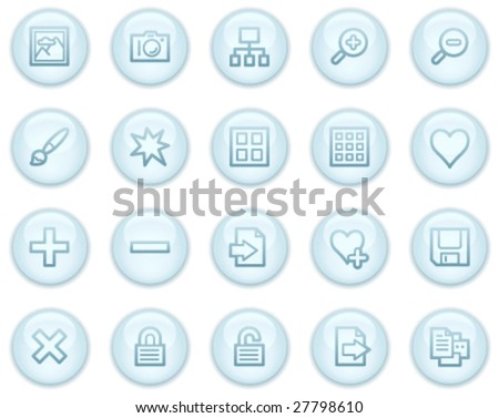 Image library web icons, light blue circle buttons series - stock vector