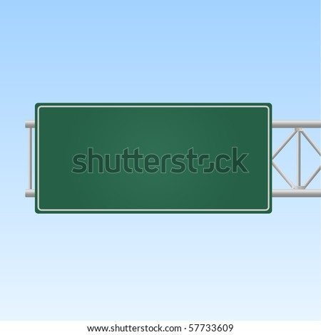 Image of a blank green highway sign against a sky background.