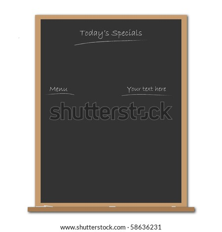 Image of a blank menu chalkboard. - stock vector