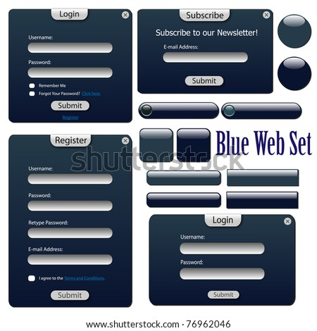 Image of a blue web forms, bars and buttons isolated on a white background. - stock vector