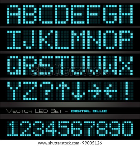 Image of a colorful, blue led font set on a dark background. - stock vector