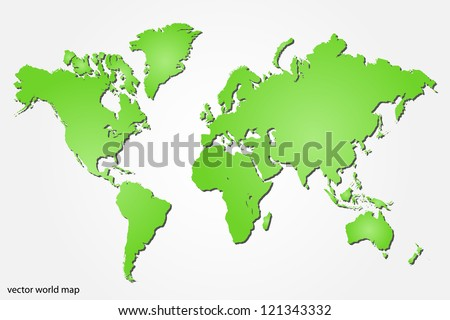 Image of a colorful green world map isolated on a white background. - stock vector