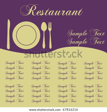Image of a colorful purple sample restaurant menu with editable text. - stock vector