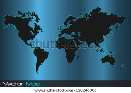Image of a colorful vector world map illustration. - stock vector