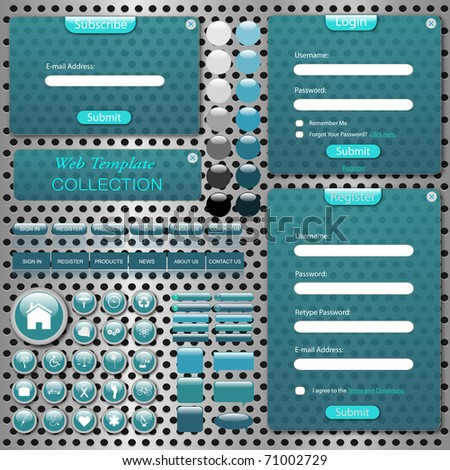 Image of a colorful web template with bars, buttons, icons, chat bubbles and transparent forms against a metallic background. - stock vector