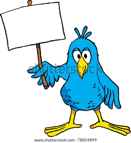 Image of a cute cartoon bird holding a blank sign.