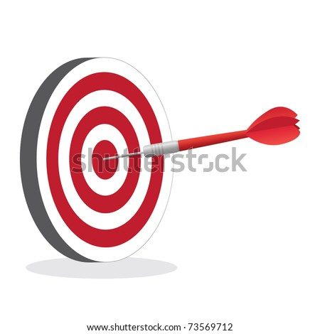 Image of a dart hitting a bullseye target isolated on a white background.