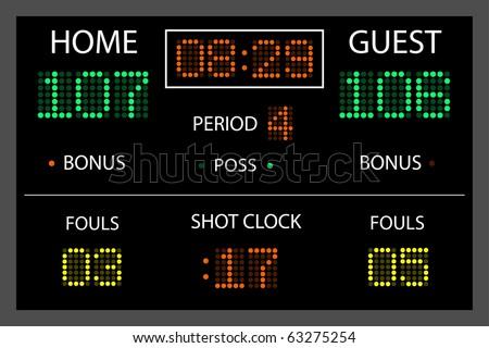 Image of a digital scoreboard. - stock vector