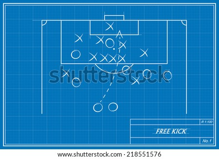 image of a free kick on a blueprint. Transparency used.