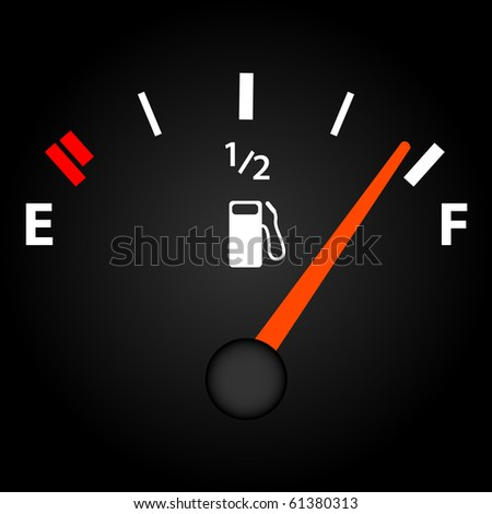 Image of a gas gage on a dark background. - stock vector