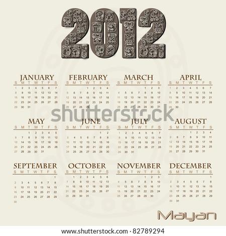 Image of a Mayan themed 2012 calendar. - stock vector